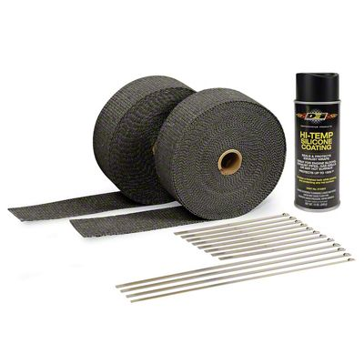 Black Exhaust Wrap & Black Hi-Temp Silicone Coating Kit (87-19 Jeep Wrangler YJ, TJ, JK & JL)
