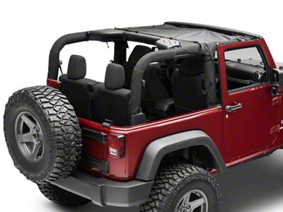 MasterTop ShadeMaker Mesh Bimini Top - Black (07-18 Jeep Wrangler JK 2 Door)