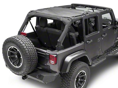 MasterTop ShadeMaker Mesh Rear Cargo Top - Black (97-18 Jeep Wrangler TJ & JK)