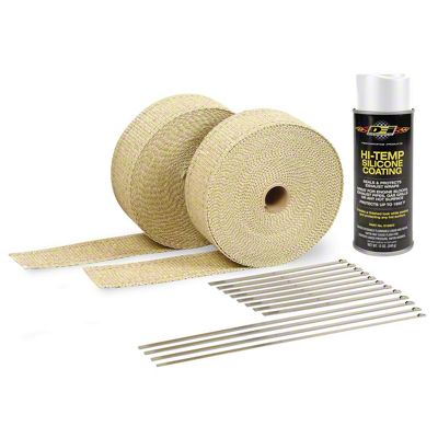 DEI Tan Exhaust Wrap & White Hi-Temp Silicone Coating Kit (87-18 Jeep Wrangler YJ, TJ, JK & JL)