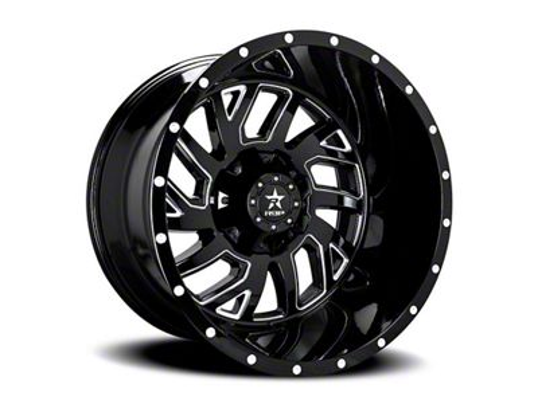 RBP 65R Glock Gloss Black w/ Machined Grooves Wheel - 20x12 (87-06 Jeep Wrangler YJ & TJ)