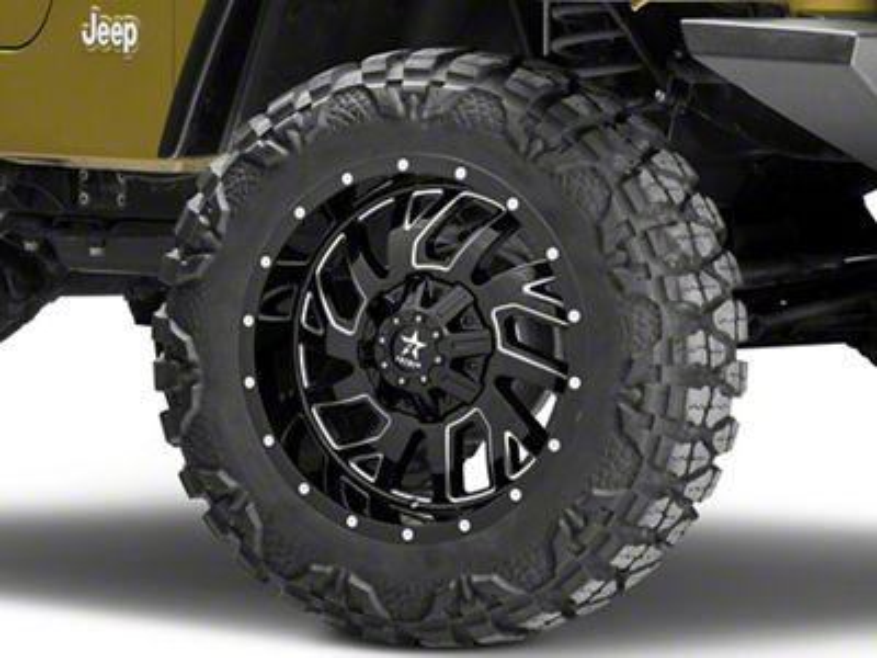 RBP 65R Glock Gloss Black w/ Machined Grooves Wheel - 20x10 (87-06 Jeep Wrangler YJ & TJ)