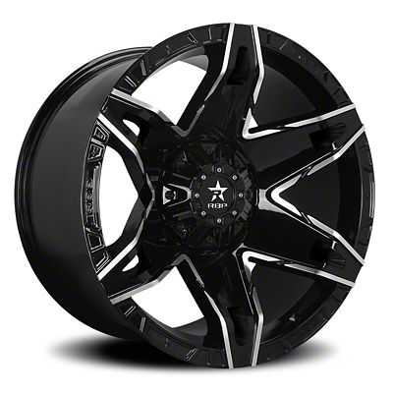 RBP 70R Quantum Gloss Black w/ Machined Grooves Wheel - 20x10 (87-06 Jeep Wrangler YJ & TJ)