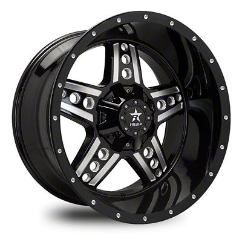 RBP 90R Colt Gloss Black w/ Machined Grooves Wheel - 20x9 (87-06 Jeep Wrangler YJ & TJ)
