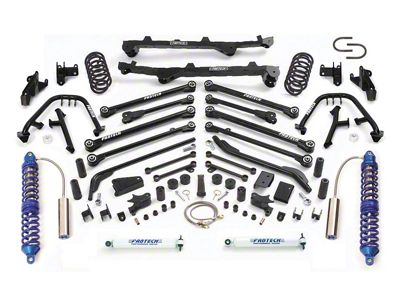Fabtech 6 in. Long Arm Lift System w/ Front Dirt Logic 2.5 Coilovers & Rear Performance Shocks (97-02 Jeep Wrangler TJ)