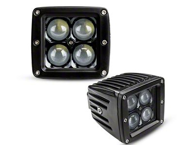 Dual 3 in. LED Square Lights w/ A-Pillar Mounting Brackets (07-18 Jeep Wrangler JK)