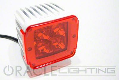 Oracle 3 in. Off-Road Series Square LED Light w/ Red Lens - Spot Beam