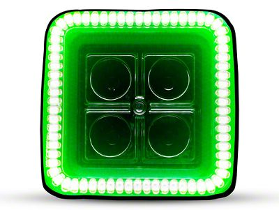Oracle 3 in. Off-Road Series Square LED Light w/ Green Halo - Spot Beam