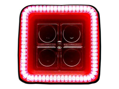 Oracle 3 in. Square Halo for Cube/Square Lights - Red (87-18 Jeep Wrangler YJ, TJ, JK & JL)