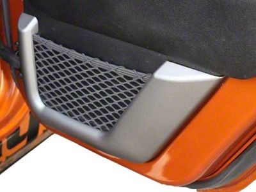 Rugged Ridge Rear Door Net Trim - Charcoal (11-18 Jeep Wrangler JK 2 Door; 18-19 Jeep Wrangler JL 4 Door)