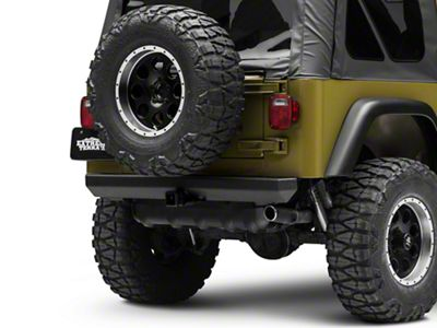 Rugged Ridge Rock Crawler Rear Bumper w/ Hitch - Black (87-06 Jeep Wrangler YJ & TJ)