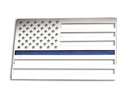 ACC Stainless Steel American Flag Emblem - Polished w/ Thin Blue Line (87-19 Jeep Wrangler YJ, TJ, JK & JL)