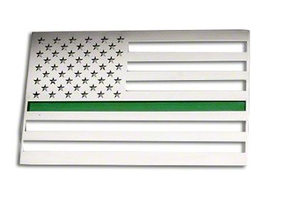 ACC Stainless Steel American Flag Emblem - Polished w/ Thin Green Line (87-18 Jeep Wrangler YJ, TJ, JK & JL)