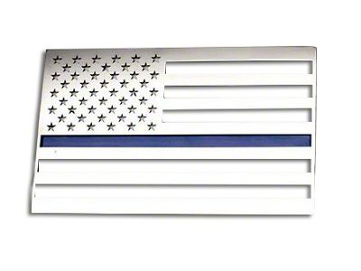 ACC Stainless Steel American Flag Emblem - Brushed w/ Thin Blue Line (87-19 Jeep Wrangler YJ, TJ, JK & JL)