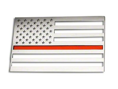 ACC Stainless Steel American Flag Emblem - Brushed w/ Thin Red Line (87-19 Jeep Wrangler YJ, TJ, JK & JL)