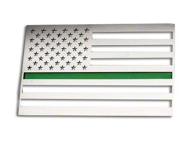 ACC Stainless Steel American Flag Emblem - Brushed w/ Thin Green Line (87-18 Jeep Wrangler YJ, TJ, JK & JL)