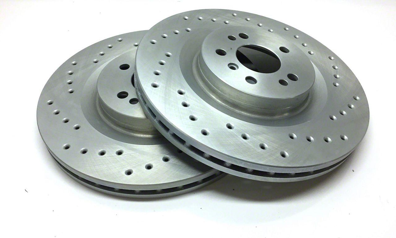 SP Performance Cross-Drilled Rotors w/ Silver Zinc Plating - Rear Pair (07-18 Jeep Wrangler JK)