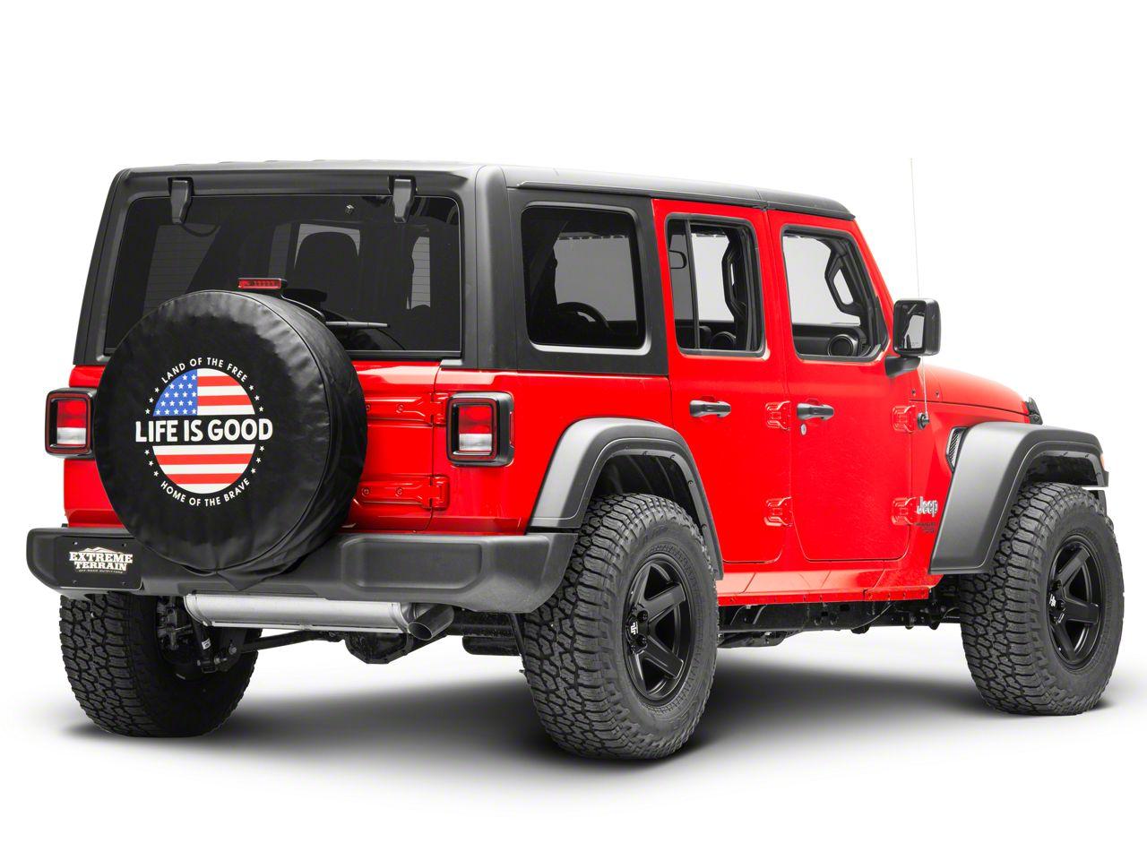 Life is Good Circle Flag Spare Tire Cover (87-18 Jeep Wrangler YJ, TJ, JK & JL)