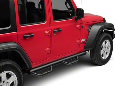 N-Fab Wheel 2 Wheel Nerf Side Step Bars - Gloss Black (18-19 Jeep Wrangler JL 4 Door)