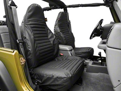 Bestop Front High-Back Seat Covers - Black Denim (97-02 Jeep Wrangler TJ)