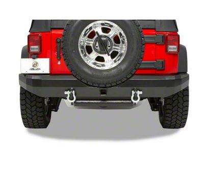 Bestop HighRock 4x4 Rear Bumper w/ Receiver Hitch - Matte Black (07-18 Jeep Wrangler JK)