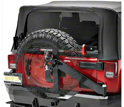 Bestop HighRock 4x4 Rear Bumper w/ Tire Carrier - Matte Black (07-18 Jeep Wrangler JK)