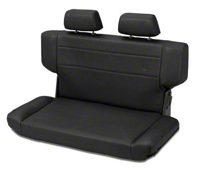 Bestop Trailmax II Fold & Tumble Rear Bench Seat in Vinyl - Black Denim (97-06 Jeep Wrangler TJ)