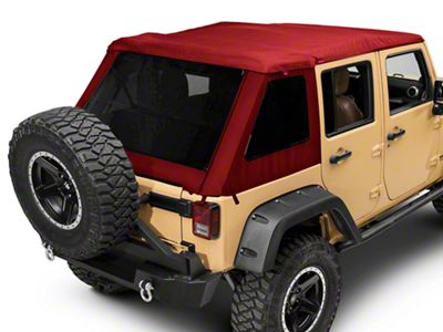 Bestop Trektop NX Glide Soft Top - Red Twill (07-18 Jeep Wrangler JK 4 Door)