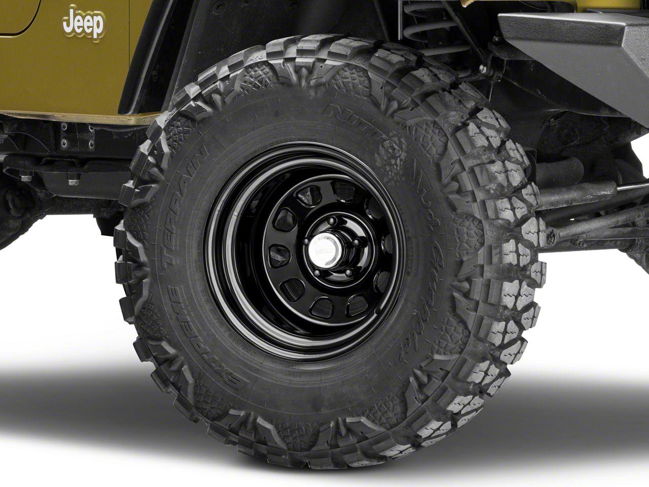 Rugged Ridge D-Window Black Steel Wheel - 15x10 (87-06 Jeep Wrangler YJ & TJ)