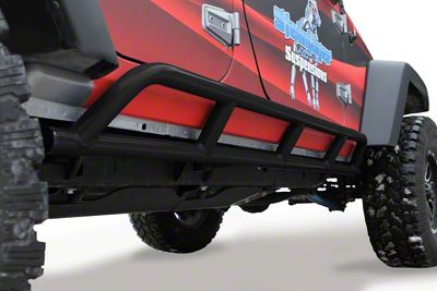 Steinjager Bare Metal Knuckles Rock Sliders - Black (07-18 Jeep Wrangler JK 4 Door)