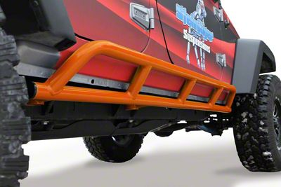 Steinjager Bare Metal Knuckles Rock Sliders - Fluorescent Orange (07-18 Jeep Wrangler JK 4 Door)