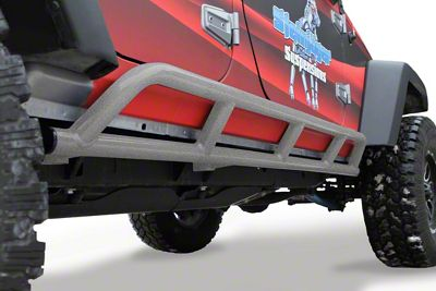 Steinjager Bare Metal Knuckles Rock Sliders - Gray Hammertone (07-18 Jeep Wrangler JK 4 Door)