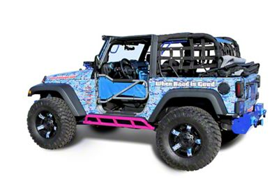 Steinjager Bare Metal Knuckles Rock Sliders - Hot Pink (07-18 Jeep Wrangler JK 2 Door)