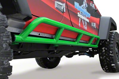 Steinjager Bare Metal Knuckles Rock Sliders - Neon Green (07-18 Jeep Wrangler JK 4 Door)