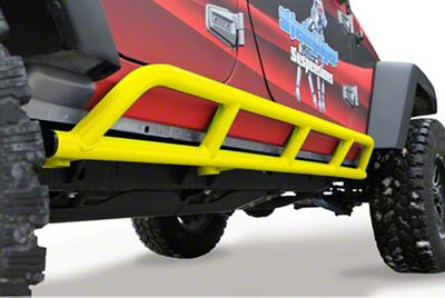 Steinjager Bare Metal Knuckles Rock Sliders - Neon Yellow (07-18 Jeep Wrangler JK 4 Door)