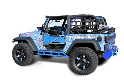 Steinjager Bare Metal Knuckles Rock Sliders - Playboy Blue (07-18 Jeep Wrangler JK 2 Door)