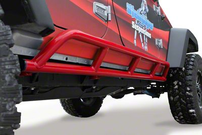 Steinjager Bare Metal Knuckles Rock Sliders - Red Baron (07-18 Jeep Wrangler JK 4 Door)