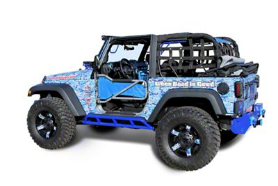 Steinjager Bare Metal Knuckles Rock Sliders - Southwest Blue (07-18 Jeep Wrangler JK 2 Door)