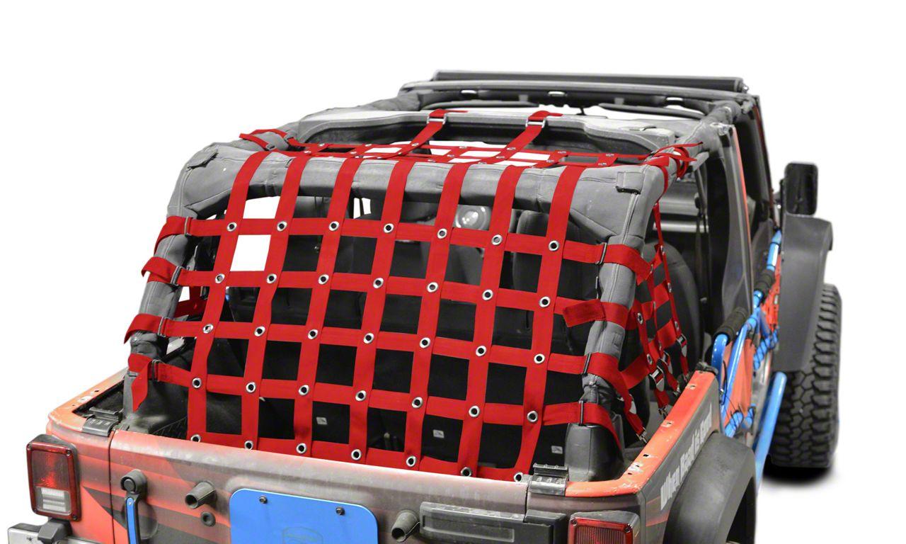 Steinjager Cargo Net - Red (07-18 Jeep Wrangler JK 4 Door)