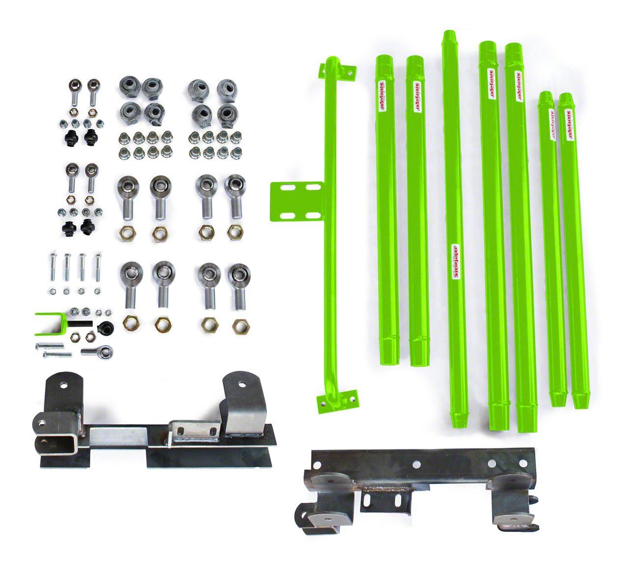 Steinjager DOM Tube Long Arm Travel kit for 2-6 in. Lift - Neon Green (97-06 Jeep Wrangler TJ)