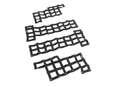 Steinjager Front & Rear Tube Door Cargo Net Covers - Black (07-18 Jeep Wrangler JK 4 Door)