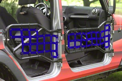 Steinjager Front & Rear Tube Door Cargo Net Covers - Blue (07-18 Jeep Wrangler JK 4 Door)