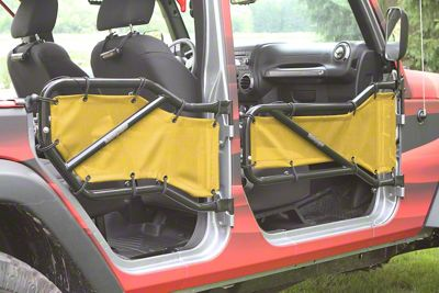 Steinjager Front & Rear Tube Door Cargo Net Covers - Lemon Yellow (07-18 Jeep Wrangler JK 4 Door)