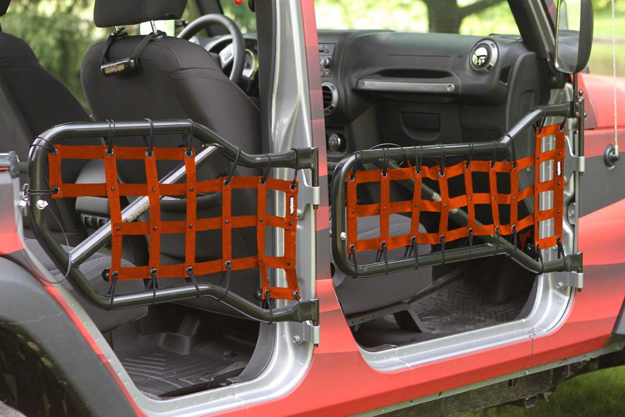 Steinjager Front & Rear Tube Door Cargo Net Covers - Orange (07-18 Jeep Wrangler JK 4 Door)