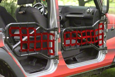 Steinjager Front & Rear Tube Door Cargo Net Covers - Red (07-18 Jeep Wrangler JK 4 Door)