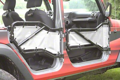 Steinjager Front & Rear Tube Door Cargo Net Covers - White (07-18 Jeep Wrangler JK 4 Door)