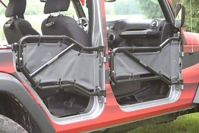 Steinjager Front & Rear Tube Door Covers - Gray (07-18 Jeep Wrangler JK 4 Door)