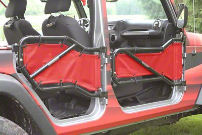 Steinjager Front & Rear Tube Door Covers - Red (07-18 Jeep Wrangler JK 4 Door)