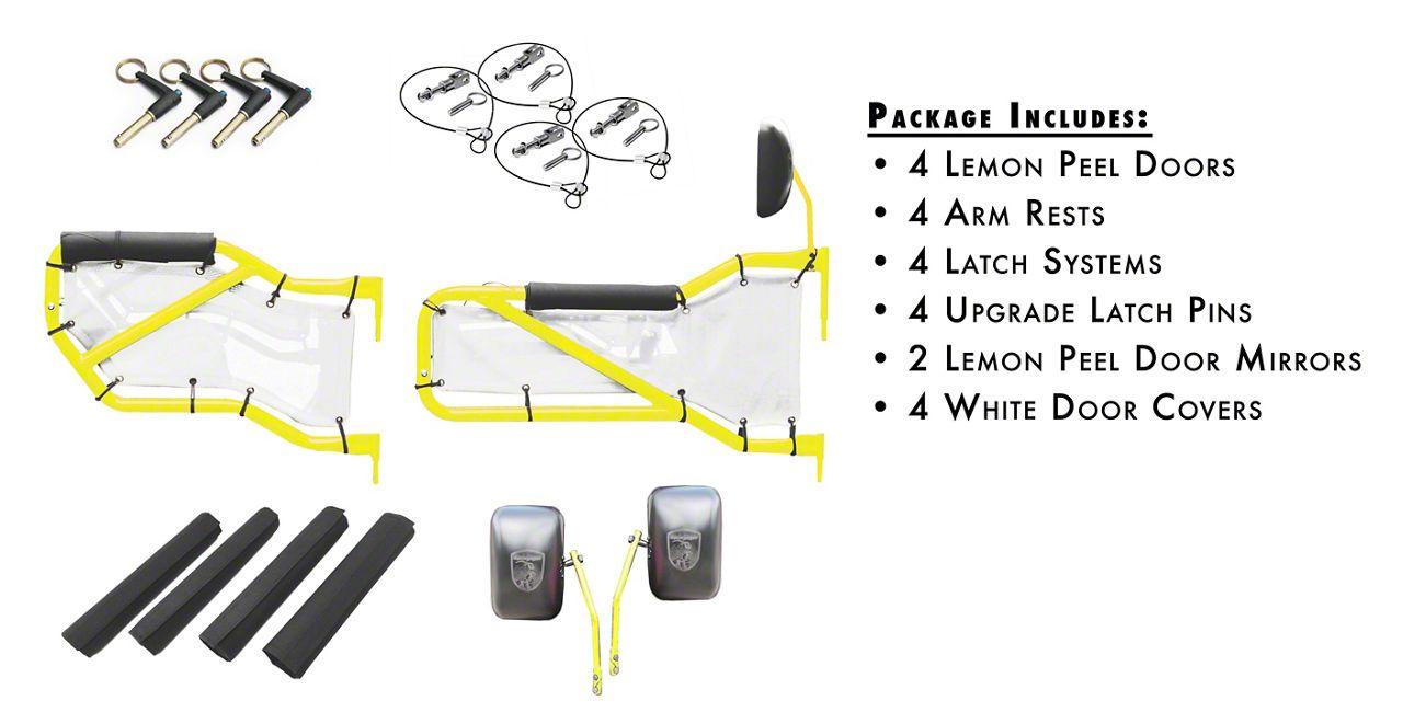 Steinjager Front & Rear Tube Doors - Lemon Peel & White Mesh (07-18 Jeep Wrangler JK 4 Door)