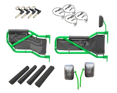 Steinjager Front & Rear Tube Doors - Neon Green & Red Mesh (07-18 Jeep Wrangler JK 4 Door)